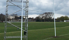 10m aluminium ground socketed rugby goalposts.