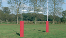 7m steel hinged No 3 folding schools rugby goalposts.