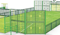 OMG 820 steel & coated mesh panel outdoor multi use games area.