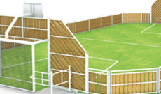 OMG 850 timber panel & steel frame outdoor multi use games area.