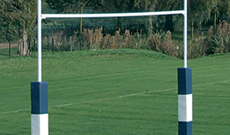 In ground steel socketed 9m university rugby goalposts.
