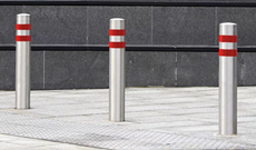 Stainless steel security bollard access post.