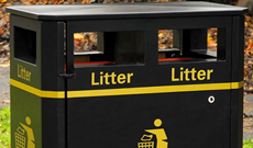 Mixed use 240 litre ground fixed public steel litter bin.