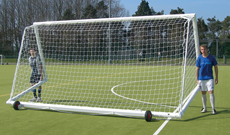 Aluminium freestanding football goals.