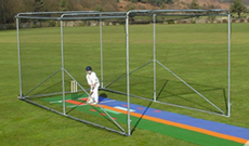 Classic 3.2m (H) wheeled mobile cricket net cage.