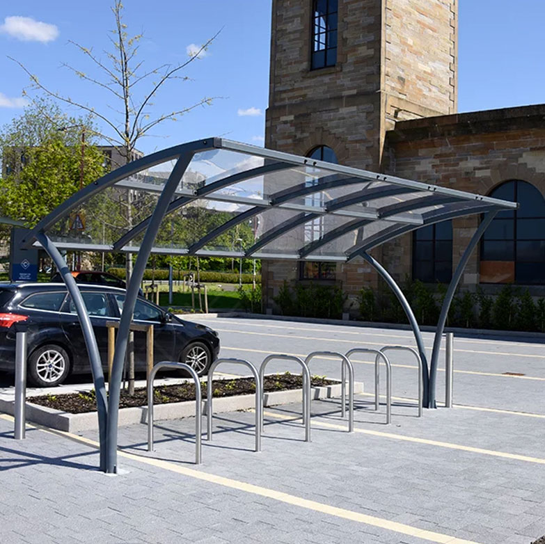 Outdoor Public Perspex Bicycle Canopy Shelter Fitness Sports