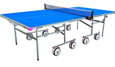 Butterfly Garden rollaway outdoor table tennis table.