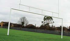 Combination steel rugby and football goalposts.