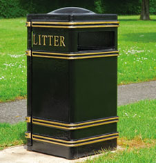 Square Cast Iron Public Litter Bin