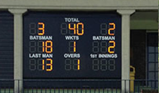 Custom installed electronic cricket scoreboard.