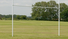 Demountable hinged folding aluminium rugby goalposts.