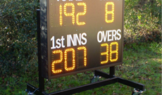 Mobile electronic digital cricket scoreboard.