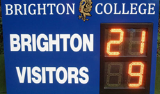 Digitally operated rugby scoreboard.