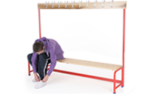 Steel tubular single changing bench rack.