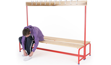 Steel tubular double changing bench rack.