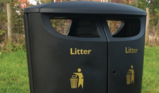 Double PVC public use outdoor litter bin.