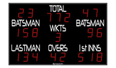 Large electronic digital cricket scoreboard.