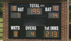 Custom installed electronic cricket scoreboard.