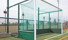 Aluminium fence back folding hockey goalposts.