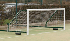 Pair of 80mm alloy fence folding five a side goalposts.