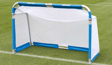 Single junior folding freestanding aluminium goals.