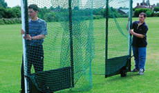 Steel freestanding folding hockey goalposts.