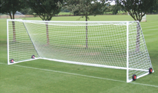Steel freestanding football goals.