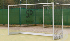 Steel freestanding practice hockey goalposts.