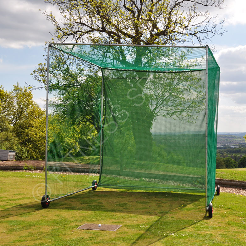 Wheeled steel cricket net cage