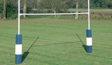 In ground steel socketed 6m heavy duty rugby goal posts.