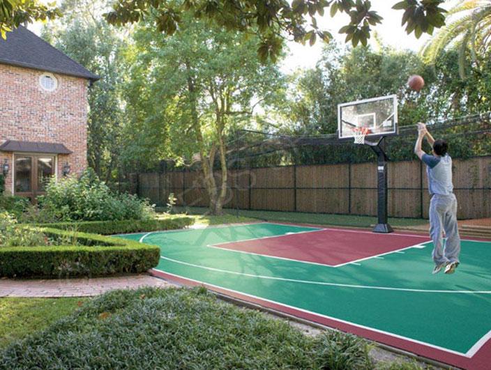 Garden basketball goal area design installation for Home outdoor basketball court cost