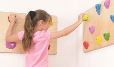 Indoor wall mounted play climbing panels.
