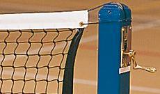 Freestanding indoor tennis posts with winder.