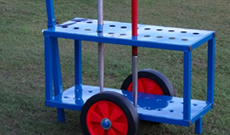Wheeled javelin storage trolley.