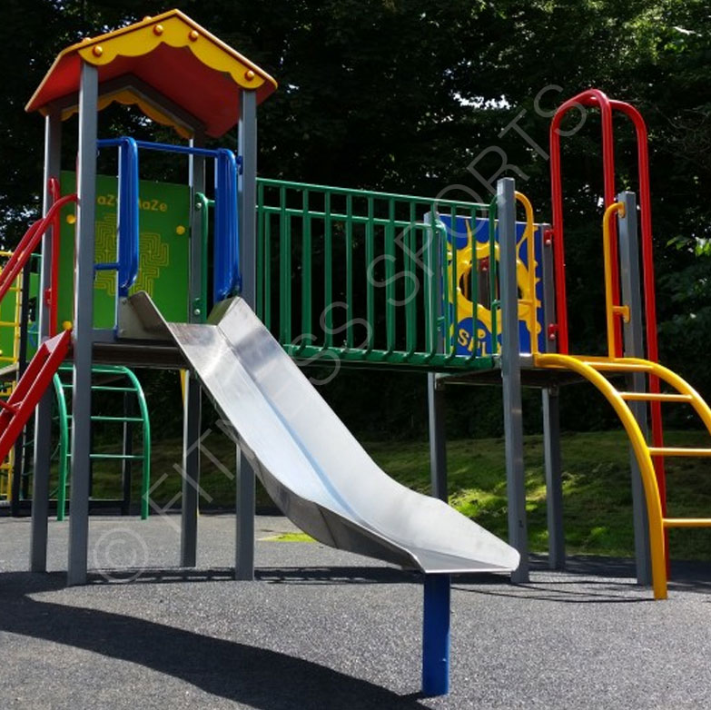 Steel outdoor playground equipment installation