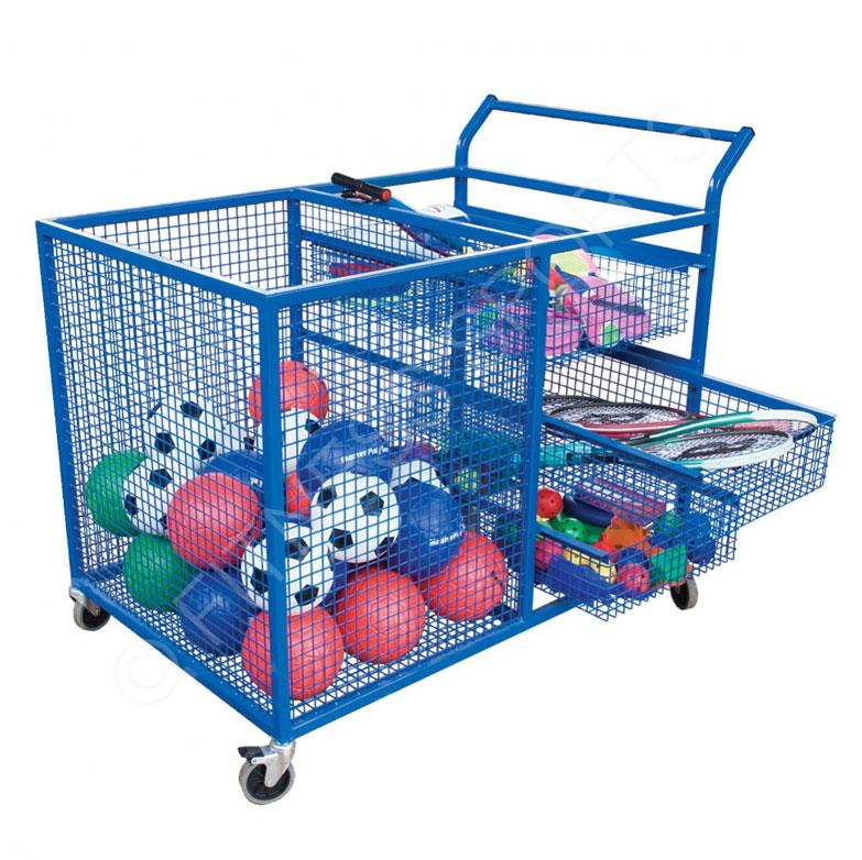 Open Steel Mesh Portable Ball Storage Trolley Locker | Fitness ...