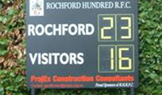 Manually operated rugby scoreboard.