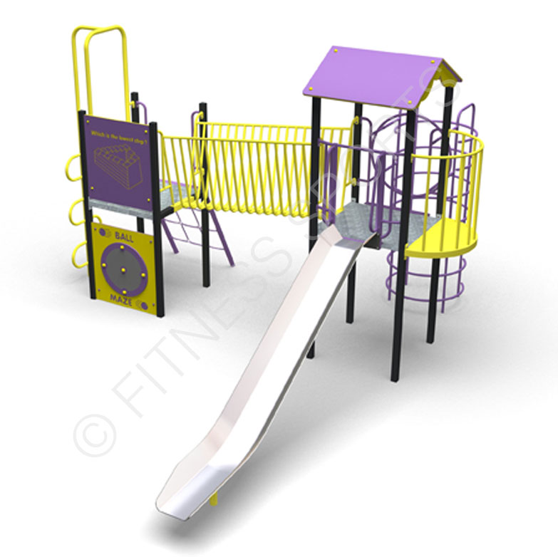 Anti Vandal Playground Steel Slide | Steel Playground Slide | Multi Use Games Area Equipment MUGA | Fitness Sports Equipment