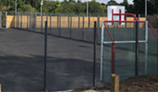 Playground basketball and football goal anti vandal combination MUGA unit.