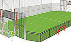 OMG 830 steel panel & netted mesh outdoor multi use games area.