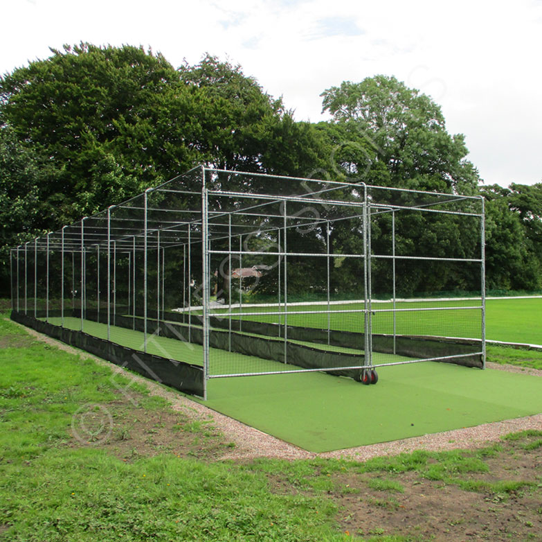 Cricket Double Bay Batting Cage Net Pitch Installation Fitness Sports