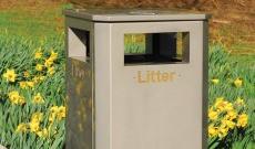 Public standard stainless steel litter bin.