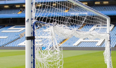 Hinged socketed goalpost net supports FBL-191.