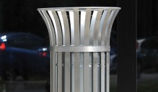 Public open top stainless steel litter bin.