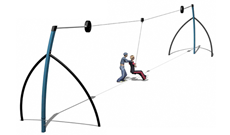 Outdoor adventure trail 20m long ariel zip wire.