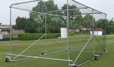 Premier 3.2m (H) wheeled mobile cricket net cage.
