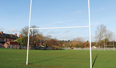 Professional heavy duty rugby match goal posts.
