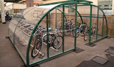 Perspex secure canopy bicycle storage shelter.