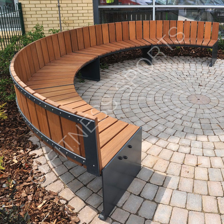 Contemporary Timber amp Steel Outdoor Circular Seating Area