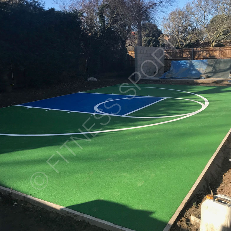 Garden residential basketball practice areas design for Residential sport court cost